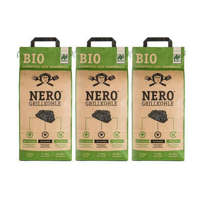 NERO Kohlekorb »BIO Grill-Holzkohle - 3 x 2,5kg Sack - Garantiert ohne Tropenholz - Holz aus Deutschland«
