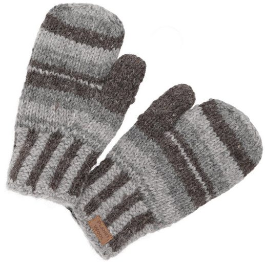 Guru-Shop Strickhandschuhe »Handgestrickte Fausthandschuhe, gestreifte..«