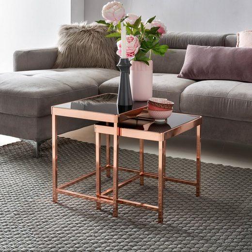 FINEBUY Satztisch »FB45666«, Design Couchtisch PATRIS Glas Kupfer 2er Set Wohnzimmertisch Modern mit Glasplatte verspiegelt Beistelltisch Eckig Tisch Wohnzimmer