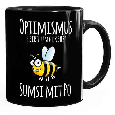 MoonWorks Tasse »Kaffee-Tasse Spruch Optimismus heisst umgekehrt Sumsi mit Po Bürotasse Motiv Biene MoonWorks®«, Keramik