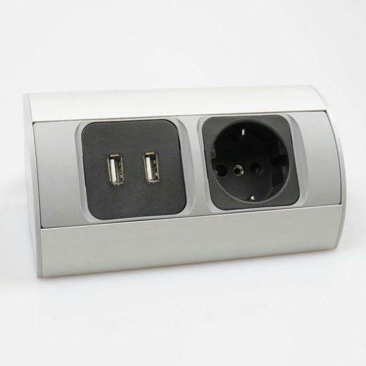 kalb »kalb Ecksteckdose USB Aluminium Energiebox Tischsteckdose Powerport Schutzkontakt« Smarte Steckdose