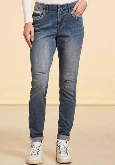 NILE Slim-fit-Jeans mit Destroyed-Effekten und Biobaumwolle-Anteil