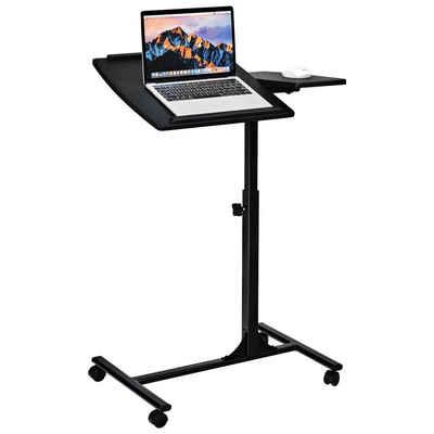COSTWAY Beistelltisch »Laptoptisch Notebooktisch Pflegetisch Rolltisch Betttisch Sofatisch«, auf Rollen, höhenverstellbar und neigungsverstellbar, 95x64x45cm