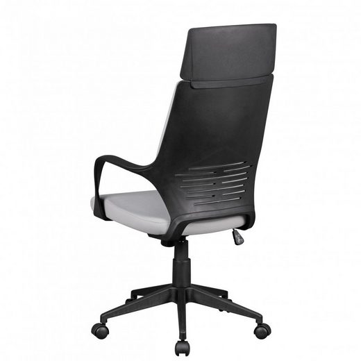 Amstyle Chefsessel »SPM1.332« Bürostuhl TECHLINE Stoffbezug Hellgrau Schreibtischstuhl Design Chefsessel Drehstuhl Wippmechanik & Armlehne