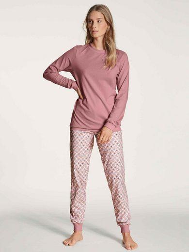 CALIDA Pyjama »Bündchen-Pyjama« (2 tlg)