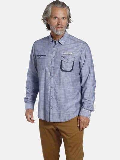 Jan Vanderstorm Langarmhemd »PEJO« mit gewebtem Minimal-Muster