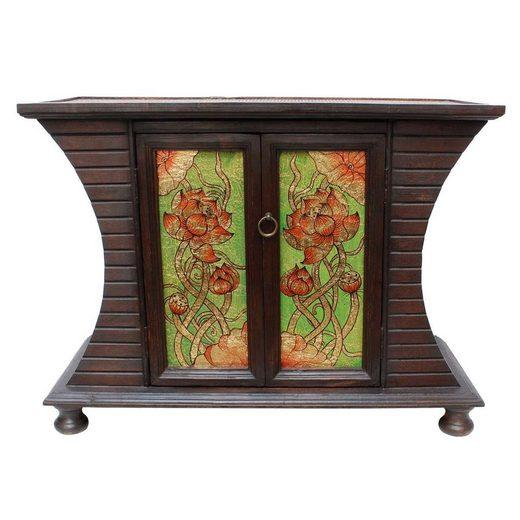Oriental Galerie Mehrzweckschrank »Schrank mit Rattan Lotus Blumen Grün Braun 87 cm« (1-St) Handarbeit