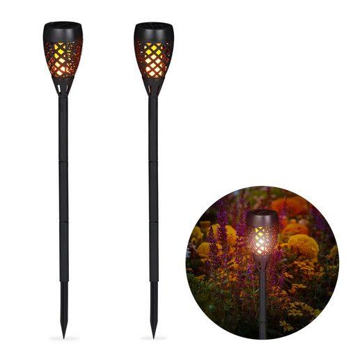 relaxdays Gartenfackel »Gartenfackel Solar 2er Set«