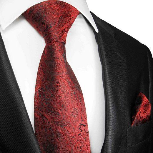 Paul Malone Krawatte »Elegante Herren Seidenkrawatte mit Tuch modern paisley brokat 100% Seide« (Set, 2-St., Krawatte mit Einstecktuch) Schmal (6cm), rot 586