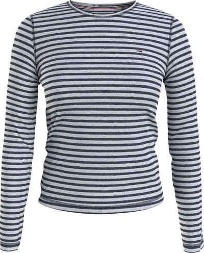 Tommy Jeans Langarmshirt »TJW Slim Textured Stripe Tee LS« mit schmalem allover Ringeldessin & Tommy Jeans Logo-Flag
