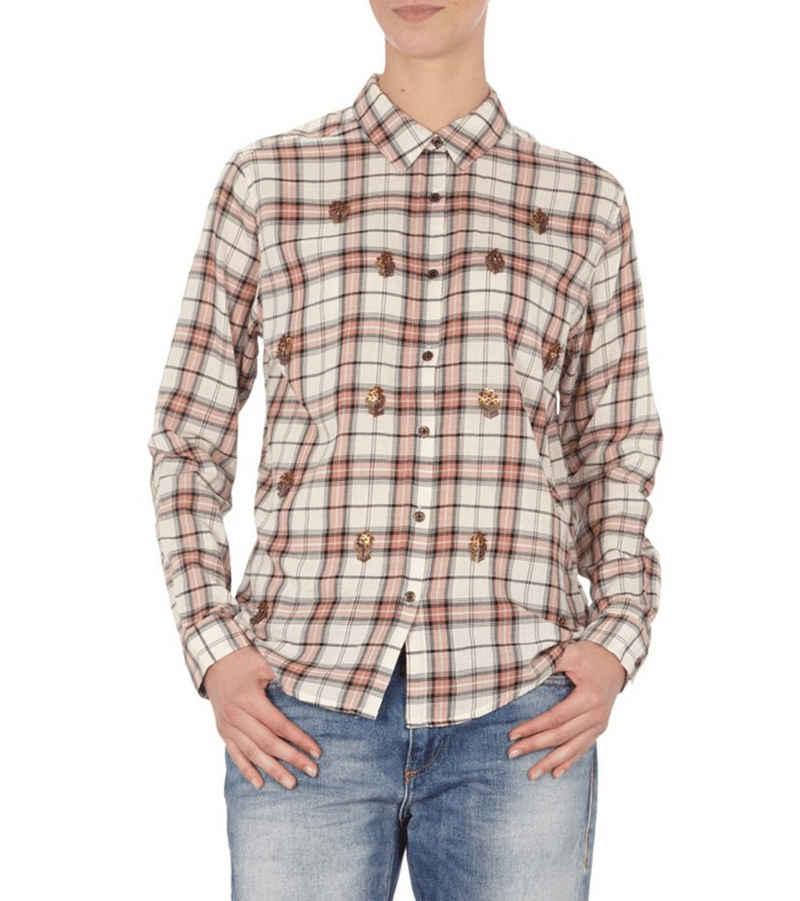 Scotch & Soda Hemdbluse »SCOTCH & SODA x MAISON SCOTCH Bluse modische Damen Hemd-Bluse mit Zierperlen Langarm-Shirt Gelb/Rosé«