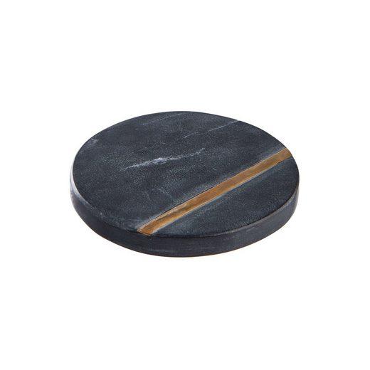 BUTLERS Glasuntersetzer MARBLE 4x Untersetzer mit Goldstreifen Ø10cm