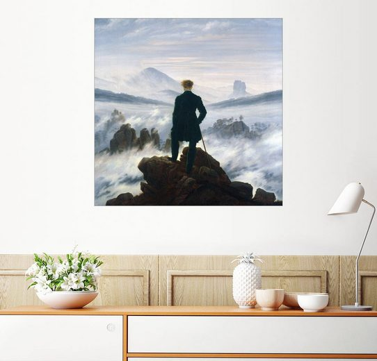 Posterlounge Wandbild, Der Wanderer über dem Nebelmeer
