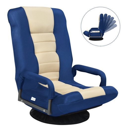 COSTWAY Relaxsessel »Bodenstuhl Bodensessel Game Sessel Bodensofa Lazy Sofa«, 360° drehbar, mit 6-Fach Verstellbarer Rückenlehne, gepolstert, Meditationsstuhl bis 140kg belastbar