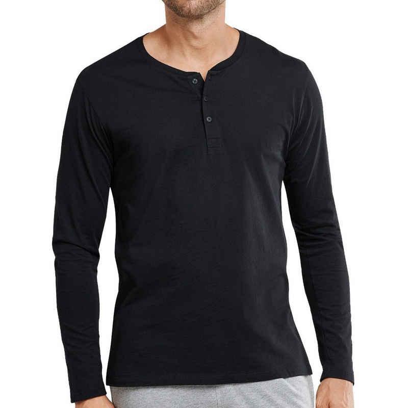 Schiesser Pyjamaoberteil »Mix & Relax Basic« Schlafanzug Shirt langarm - Ideal zum Kombinieren mit anderen Artikeln aus der Mix + Relax Serie, Besonders atmungsaktives und pflegeleichtes Material, Serafino-Kragen mit funktionaler Knopfleiste