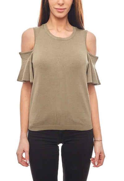 Noisy may Rundhalsshirt »Noisy may T-Shirt modernes Damen Cut-Off-Shirt Kurzarm Grün«