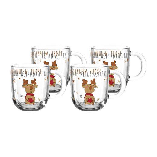LEONARDO Tasse »RUDOLF Weihnachts Tasse 300 ml Elch 4er Set« (4-tlg)