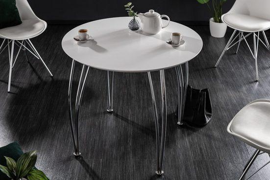 riess-ambiente Esstisch »ARRONDI 90cm weiß / chrom«, Bistrotisch · rund · Chrom · Modern Design