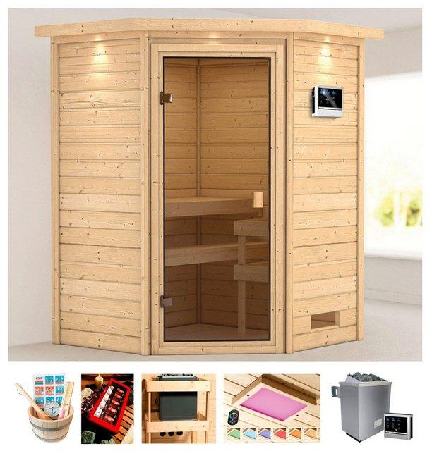 Saunen und Zubehör - KARIBU Sauna »Meggie«, 173x159x191 cm, 9 kW Ofen mit ext. Steuerung, Dachkranz  - Onlineshop OTTO
