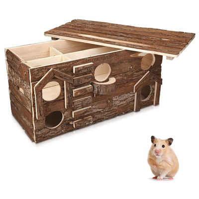 Navaris Nagerhaus, Hamsterhaus aus Holz - Nager Haus mit abnehmbarem Dach - Hütte Hamster Goldhamster Zwerghamster Mäuse - Schlafhaus Spielhaus für Käfige
