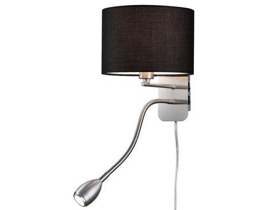 meineWunschleuchte LED Wandleuchte, innen, Lese-Lampe Bett, Lampen-Schirm Stoff Schwarz, Schwenkarm, Designer Lampe, Wand-Montage, mit Schalter (2x), Stecker