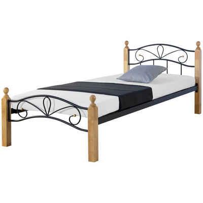 Homestyle4u Metallbett, Einzelbett mit Kopfteil + Lattenrost, Holzbeine in verschiedenen Farben