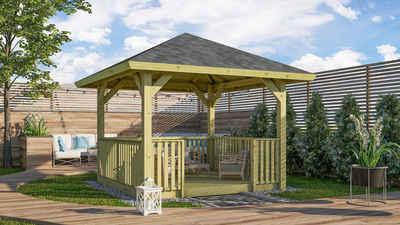 Karibu Pavillon »Bergen 1«, (Set), BxTxH: 338x338x290 cm, mit Brüstung und Fußboden