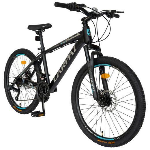 CARPAT Mountainbike »24 Zoll Mountainbike Hardtail Fahrrad MTB«, 21 Gang Shimano, Kettenschaltung, (Aluminiumrahmen MTB Gabelfederung Scheibenbremsen), Shimano Schaltung Trekkingrad Fitnessbike