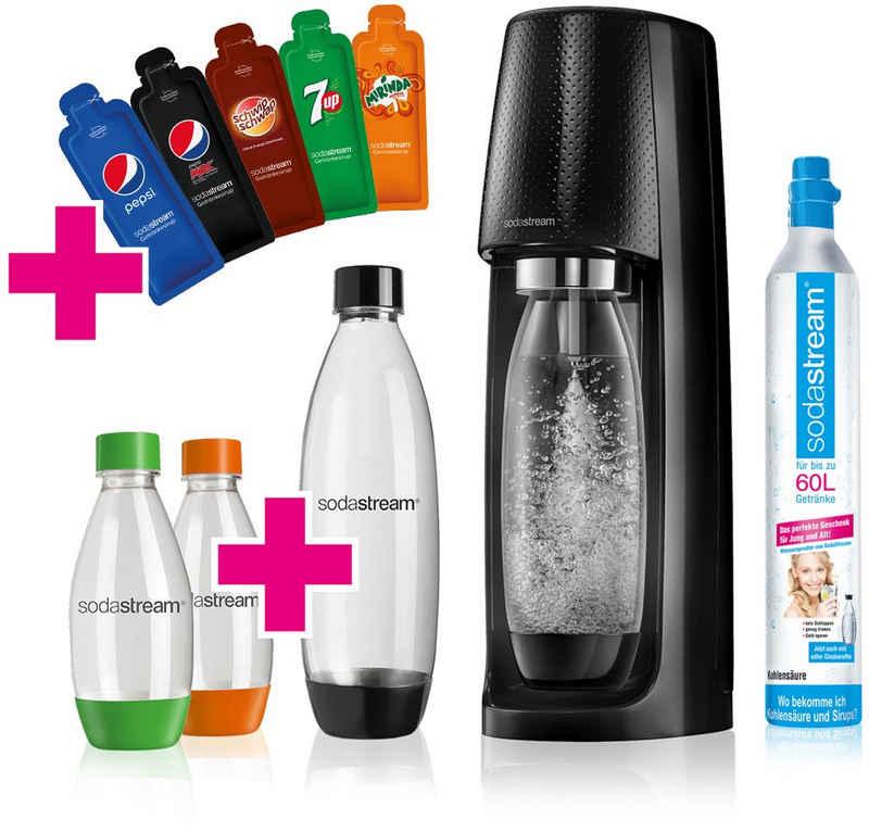 SodaStream Wassersprudler »EASY«, (Set, 6-tlg), Promopack PEPSI, 1 x SodaStream Easy (schwarz), 1 x SodaStream CO2-Zylinder, 1 x PET-Flasche 1 L, 2 x PET-Flasche 0,5 L, 5 x Sirupproben