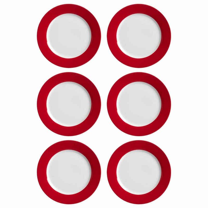 Ritzenhoff & Breker Speiseteller »DOPPIO Teller flach 27 cm rot 6er Set«, (6 Stück)
