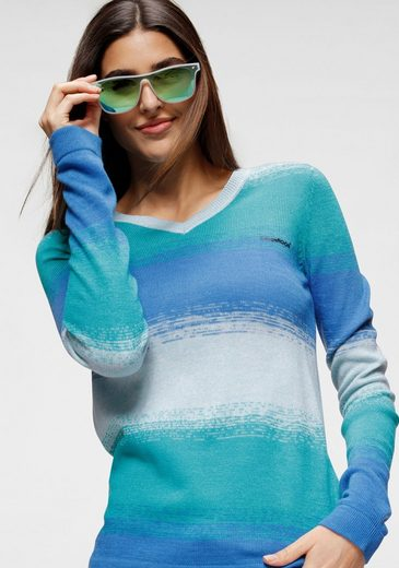 KangaROOS V-Ausschnitt-Pullover in modischem Melange Strick