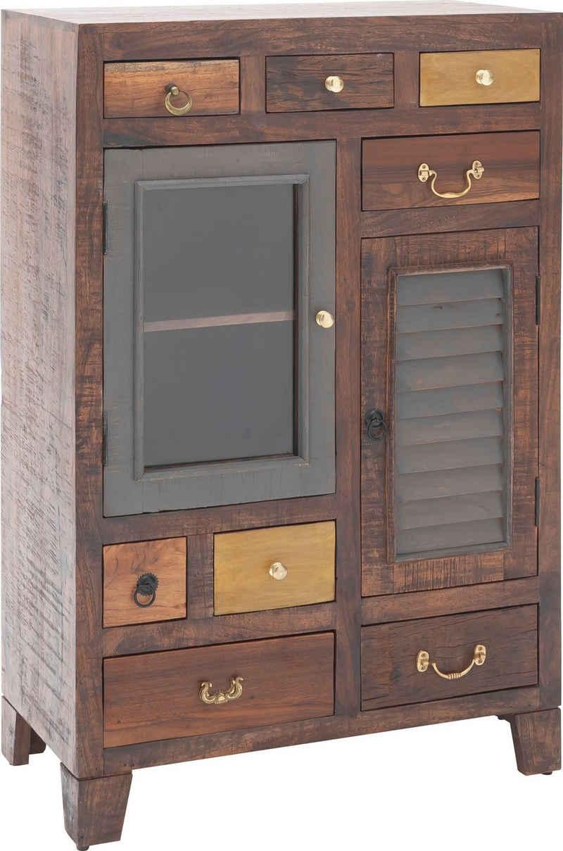 MCA living Hochschrank »Frombork« Vintage Akazie Massivholz, Highboard mit Boatwood Fronten, Artikel montiert