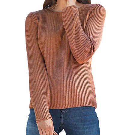 VIA APPIA Rundhalspullover »VIA APPIA Strick-Pullover schimmernder Damen Sweater mit Glanz-Garn Kuschel-Pulli Braun«