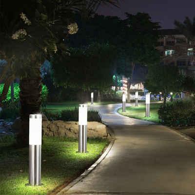etc-shop Sockelleuchten, 6er Set LED Außen Steh Lampen Hof Einfahrt Beleuchtung Edelstahl Garten Weg Stand Leuchten silber