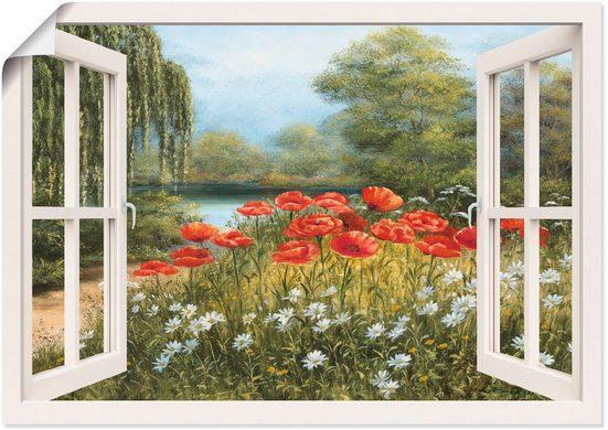 Artland Wandbild »Fensterblick Mohnwiese«, Fensterblick (1 Stück), in vielen Größen & Produktarten -Leinwandbild, Poster, Wandaufkleber / Wandtattoo auch für Badezimmer geeignet