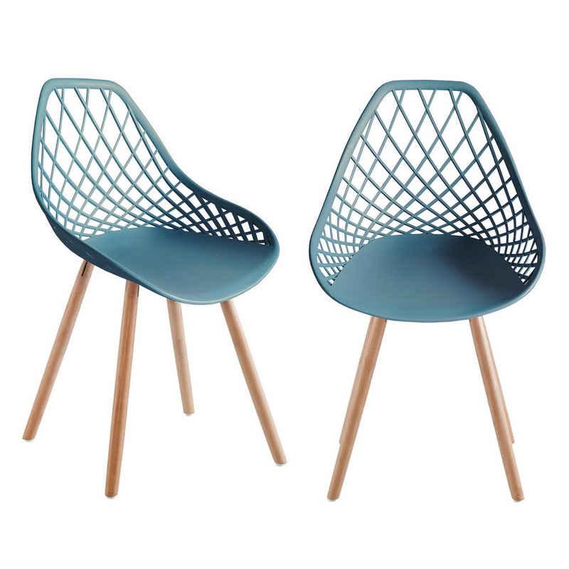 TRISENS Gartenstuhl (2 Stück), 2er 4er Set Kunststoffstuhl Küchenstuhl Esszimmerstuhl Gartenstuhl Stuhl Holzbein