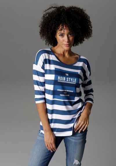 Aniston CASUAL 3/4-Arm-Shirt Mit Statement Schriftzug