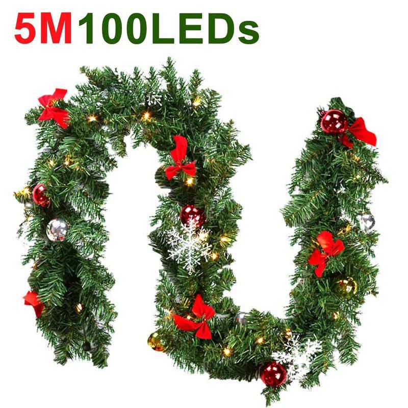 Kunstgirlande »Weihnachtsgirlande 5m Tannengirlande künstlich mit LED Lichterkette Beleuchtung Weihnachtsdeko Girlande IP44 für Türen, Kamine, Treppen, Wand Tür Kamin«, Einfeben