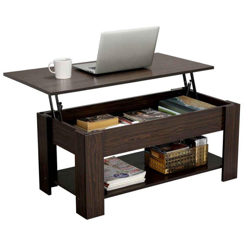 Yaheetech Couchtisch, mit Höhenverstellbarer Platte, Kaffeetisch Beistelltisch Teetisch aus Holz, ausziehbarer Wohnzimmertisch Sofatisch für Wohnzimmer, Büro, braun