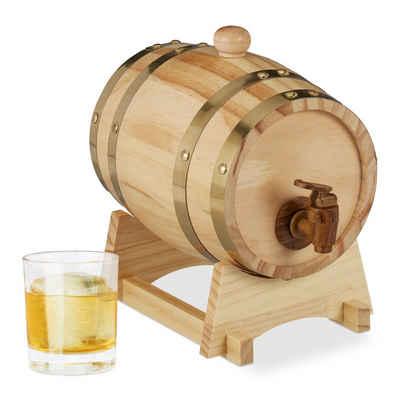 relaxdays Getränkespender Holzfass 1,25 Liter