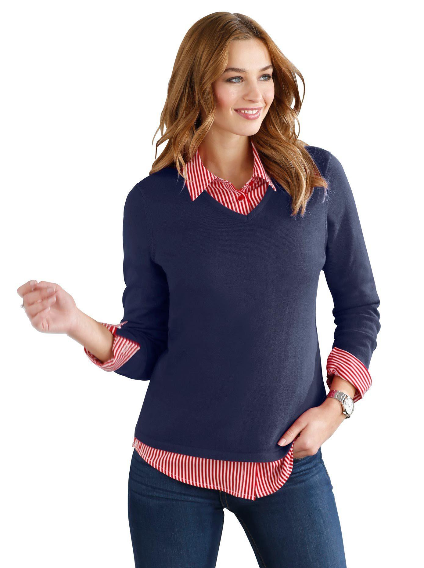 Classic Basics Pullover aus reiner Baumwolle, Pullover im zeitlosem Schnitt online kaufen | OTTO