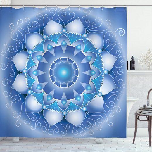 Abakuhaus Duschvorhang »Moderner Digitaldruck mit 12 Haken auf Stoff Wasser Resistent« Breite 175 cm, Höhe 180 cm, Blauer Mandala Folkloric Eastern Art