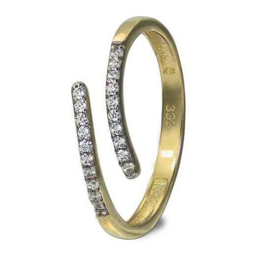 GoldDream Goldring »GDR524Y58 GoldDream Gold Ring Gr.58 Line Zirkonia« (Ringe), Damenring (Line) 333 Gelbgold - 8 Karat, Farbe: gold, weiß