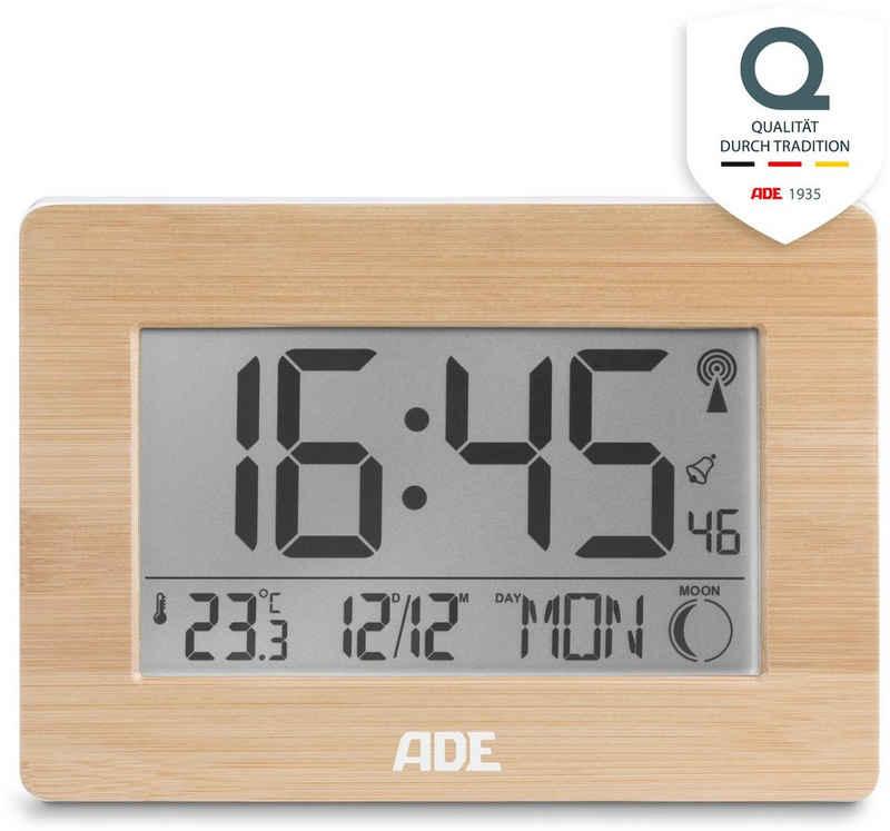 ADE Funkwecker »CK 1702« Tischuhr mit echtem Bambus-Rahmen, Temperatur, DCF-Zeitsignal