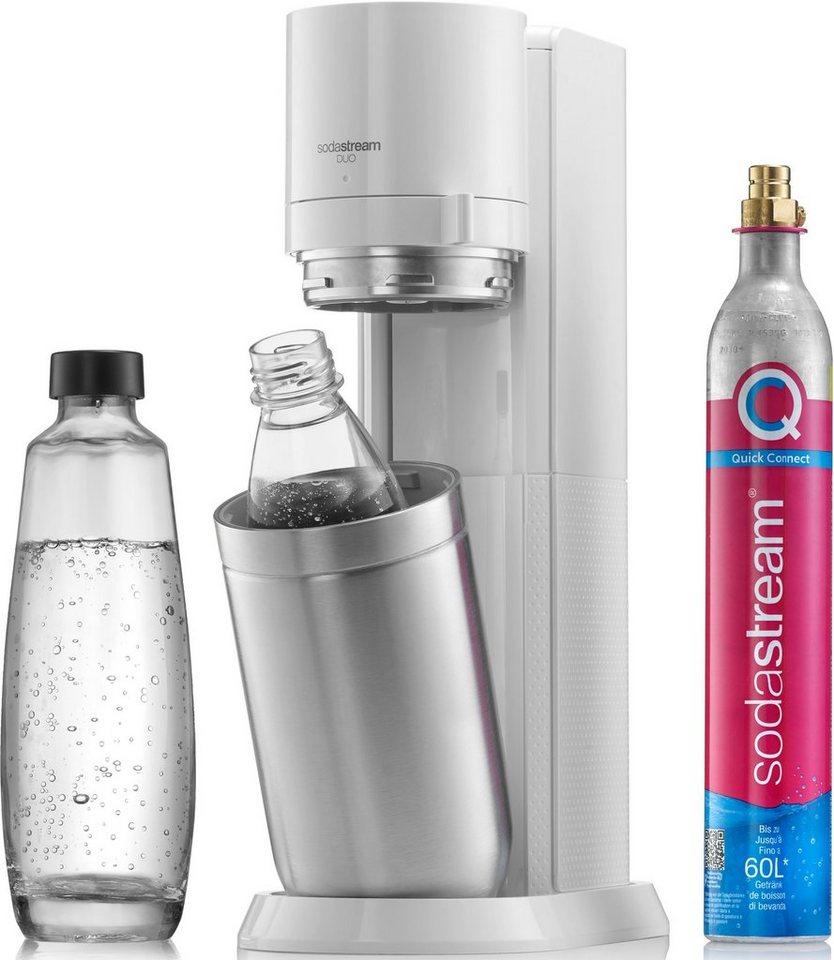 SodaStream Wassersprudler DUO + CO2-Zylinder + 1x 1L Glasflasche & 1x 1L Kunststoff-Flasche
