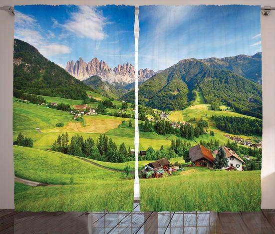 Gardine »Schlafzimmer Kräuselband Vorhang mit Schlaufen und Haken«, Abakuhaus, Berg Alpen im Frühjahr