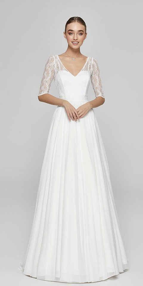 Bride Now! Maxikleid »Brautkleit in A - Linie aus Spitze und Chiffon mit 3/4 Arm« comfortable to wear, with floral motifs