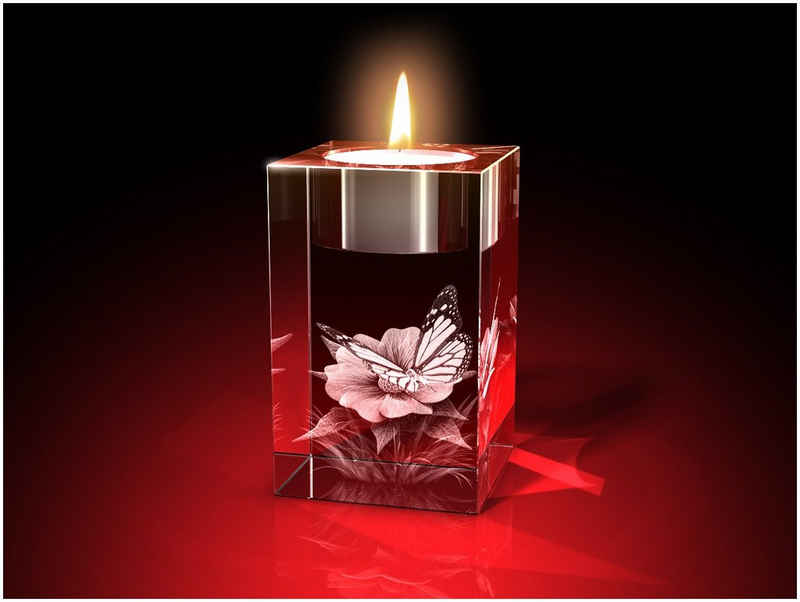 GLASFOTO.COM Teelichthalter »3D Blume mit Schmetterling, Zebra, Giraffe, Häschen – Kristallglas mit Innengravur als Geschenk für jeden Anlass 50 x 80 x 50« (1 Stück)