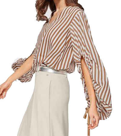GUIDO MARIA KRETSCHMER Blusentop »GUIDO MARIA KRETSCHMER Bluse ausgefallene Damen Langarm-Bluse in Streifen-Optik Freizeit-Bluse Hellbraun/Weiß«