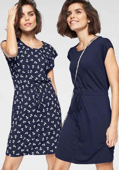 Sommer Kleid luftig leicht Babydoll gepunktet schwarz weiß blau NEU mit Etikett